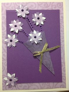 Hand Made Greeting Card Purple flower bouquet greeting card.  (Blank Inside) $9.98
