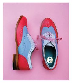 ABO pink/blue/white oxford shoes by Iva Ljubinkovic