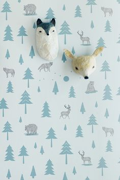 Into the Wild Wallpaper – Storm Green and Taupe on Soft Grey Abigail Brown paper…