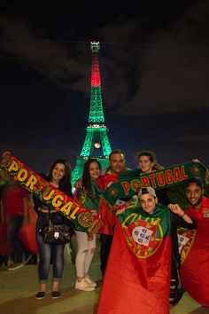 EURO 2016 The Eiffel tower is lit up in the colours representing Portugal France Euro, Paris France, Benfica Wallpaper, Portugal Soccer, Football Cheerleaders, 2016 Pictures, Good Soccer Players, World Football, Soccer Stars