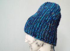 Handmade best quality natural Alpaca wool blue striped hat / beanie hat by TASSSHA on Etsy