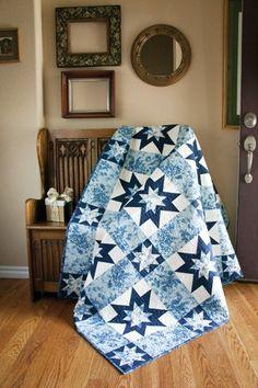 "Ice Garden ~ 60x78"" pieced quilt for skilled beginner (single & double sawtooth stars blocks), $8 digital pattern   from Keepsake Quilting"