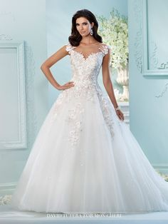 David Tutera - Tulle, sequin tulle, organza and hand-beaded metallic embroidered Schiffli lace appliqués over satin ball gown with lace accented cap sleeves, illusion bateau neckline, sweetheart bodic