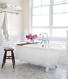 Bathroom-Subway Tile & Clawfoot Tub