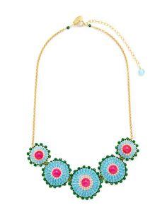 Fuchsia Jade & Multicolor Miyuki Bead Disc Station Necklace