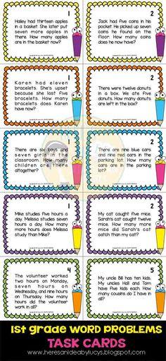 1st Grade Math Word Problems Task Cards