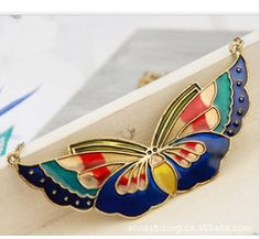 Alloy Jewelry Wholesale Korea Hot Korean Wild Retro Painted Totem Color Butterfly Necklace Pendant Pendants & Necklaces Jz1364