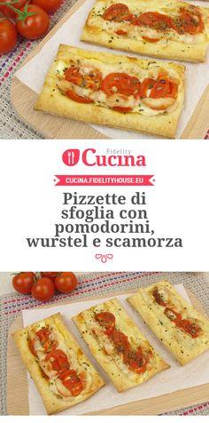 #Pizzette di sfoglia con #pomodorini, #wurstel e #scamorza