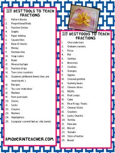 Top 25 Tools and Foods to Teach Fractions-Chart - Need some ideas on tools and foods you can use to teach fractions? This chart lists 25 top tools and 25 top foods to teach fractions. Teaching Fractions, Math Fractions, Teaching Math, Teaching Ideas, Teaching Tools, Maths, Teaching Materials, Math Resources, Math Activities
