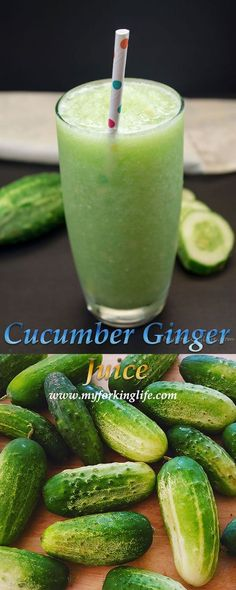 Refreshing & Healthy Cucumber Ginger Juice from www.myforkinglife.com #healthy #summer16