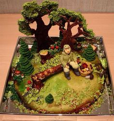 The Man in the Forest Cake is a unique cake design. A man sitting in a wooded area is way more cake than I can make, how good are your cake decorating skills. Birthday cake design is taking off in a Crazy Cakes, Fancy Cakes, Cute Cakes, Image Search, Beautiful Cakes, Amazing Cakes, Bolo Russo, Amazing Food Art, Gastronomia