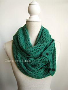 Nellie Knit Scarf  EMERALD  open weave knit door GraceandLaceCo