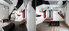 Graphic installation '_AFxTT[...]' for Kompany, a coworking office space, using tape | Design by LATE architects (Poland)
