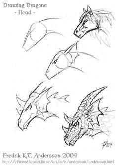 Simple Dragon Drawing, Cool Dragon Drawings, Dragon Head Drawing, Dragon Sketch, Dragon Artwork, Drawing Heads, Pencil Art Drawings, Art Drawings Sketches, Simple Animal Drawings