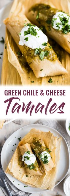 A Mexican classic these Green Chile and Cheese Vegetarian Tamales are filled with roasted poblano peppers and spicy pepper jack cheese. Also gluten free! - March 16 2019 at Vegetarian Tamales, Vegetarian Recipes, Cooking Recipes, Healthy Recipes, Vegetarian Mexican Food, Vegan Tamales, Easy Recipes, Vegetarian Grilling, Cooking Rice
