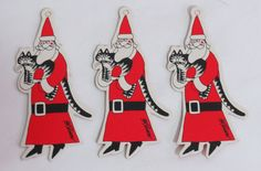 Vintage Kliban Santa Holding Cat Cardboard Ornaments  (for crazy cat lady's Christmas tree)
