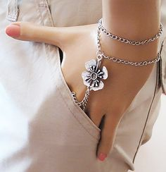 slave bracelet flower bracelet Hand Bracelet by selenayselenay