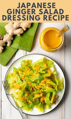 Japanese Ginger Salad Dressing Recipe - Your favorite restaurant-style Japanese Ginger Dressing is easy to make at home in just minutes with a handful of simple, healthy ingredients! #japanesegingerdressing #japanesesaladdressing #gingerdressing #saladdressing #aspicyperspective Japanese Ginger Dressing, Japanese Salad, Easy Japanese Recipes, Asian Recipes, Healthy Recipes, Healthy Food, Ginger Salad Dressings, Salad Dressing Recipes, Cilantro Dressing