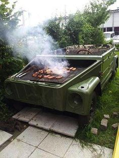 VW Thing Body transformed into a BBQ Grill.