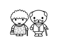 Coloring page grandmother and grandfather Easy Cartoon Drawings, Doodle Drawings, Easy Drawings, Tattoo Drawings, Family Theme, Family Day, Tattoo Oma, Mother And Daughter Drawing, Family Vector