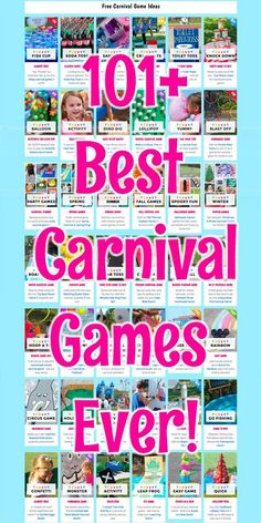 FREE Carnival Game Ideas - Carnival Activity Booth Ideas Too! - - Plan the BEST Carnival Ever with these kid-tested games. Everything from traditional, easy, DIY and Unique games you will not find anywhere else! Carnival Activities, School Carnival Games, Carnival Booths, Carnival Games For Kids, Carnival Themed Party, Carnival Birthday Parties, Kids Party Games, Birthday Games, Diy Games