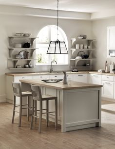 Plenty of light and geometric shapes to pursue pure aesthetic styling, that enhances the value of the kitchen as an enjoyable space in metropolitan home furnishings. Shabby chic kitchen ideas.