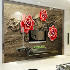 beibehang Large custom wallpaper 3d background red flower relief brown room bedroom living room TV mural wall papers home decor #Affiliate