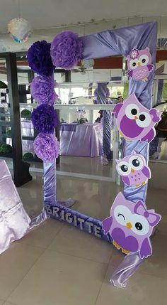 Baby shower diy photo booth party backdrops 51 ideas for 2019 Owl Birthday Parties, Birthday Decorations, Girl Birthday, Owl Parties, Owl Themed Parties, Purple Birthday, Party Frame, Monster Party, Baby Owls