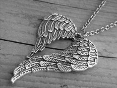Silver Angel Wings Heart Necklace