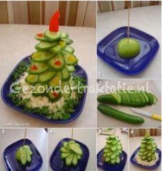 Komkommer kerstboom; idee voor kerstdiner
