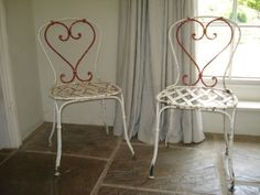 Pair of very pretty French chairs - conservatory/garden (maybe paint hearts diff color mf )