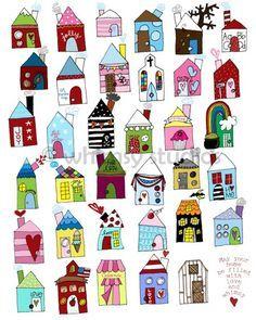 little houses--repeat patterns......Diseños divertidos para aplicarlos en distintos soportes y técnicas