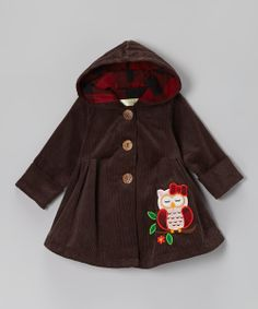 Coffee Brown Sleepy Owl Hooded Swing Coat - Infant & Toddler | Daily deals for moms, babies and kids