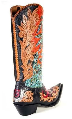 Cock of the Walk Designs - Hand Tooled, Hand Painted, Western Cowboy Boots