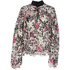 Msgm Blouse (22 010 UAH) ❤ liked on Polyvore featuring tops, blouses, fuchsia, patterned tops, fuschia blouse, long sleeve turtleneck top, zipper top and fuschia top