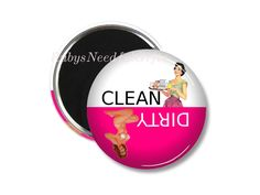 Dishwasher Magnet,  2.25 inch Magnet,  Birthday gift, fridge magnet,  Gifts under a Fiver,  Retro Magnet, Clean Dirty Dishwasher Magnet. by RubysNeedfulGifts on Etsy
