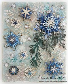 Bumblebees and Butterflies: Mixed media snowflake canvas