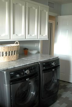 pin by zanne johnston on laundry room pinterest work surface washer and dryer. Black Bedroom Furniture Sets. Home Design Ideas