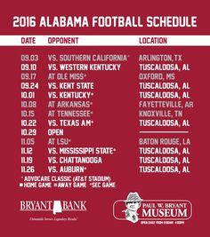 2016 Alabama Football Schedule Bama Crimson Tide