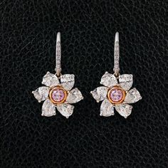 Pink & White Diamond Flower Earrings