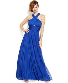 Betsy & Adam Pleated Criss-Cross Halter Gown