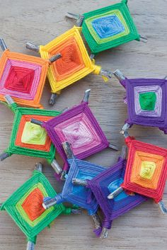 God's Eye Pins by Camp Smartypants, would be nice with mercerized cotton or embroidery floss as ornaments for the tree?