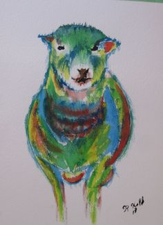 Colorful sheep water color Future Farms, Watercolors, Sheep, Moose Art, Colorful, Crafts, Painting, Animals, Fictional Characters