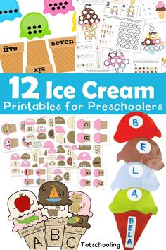 12 Ice Cream Printables for Preschoolers. Motivating number games, ABC games, and more.