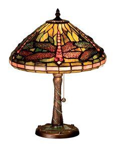 "Meyda 27158 - 16""H Tiffany Dragonfly w/ Twisted Fly Mosaic Base Accent Lamp"