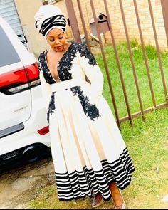 She came to slay! African Dresses For Women, African Print Dresses, African Fashion Dresses, African Prints, Xhosa Attire, African Attire, African Wear, South African Traditional Dresses, Traditional Outfits