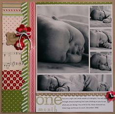 baby scrapbook pages | Scrapbook Pages: Baby / one month - Two Peas in a Bucket