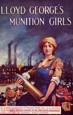 "WW1. ""Lloyd George's Munition Girls"", front cover of a book describing women's…"