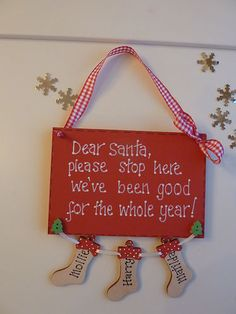 PERSONALISED CHRISTMAS XMAS STOCKING PLAQUE SIGN 'SANTA PLEASE STOP HERE' | eBay