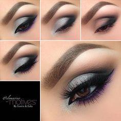 Silver and Purple Eye | Motives Cosmetics #MakeupTutorialStepByStep Smoky Eye Easy, Silver Smoky Eye, Purple Smokey Eye, Smoky Eye Makeup, Eye Makeup Steps, Simple Eye Makeup, Makeup For Green Eyes, Eyebrow Makeup, Skin Makeup
